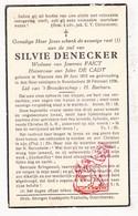 DP Silvie Denecker ° Woumen Diksmuide 1875 † Noordschote Lo Reninge 1936 X J. Faict Xx J. De Cadt - Images Religieuses