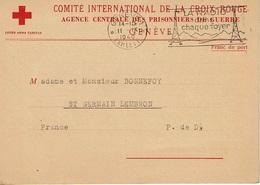"""Carte """"Croix-Rouge"""" De GENEVE Le 11-IX-1940) Vers ST-GERMAIN-LEMBRON (Concerne Jean BONNEFOY - Stalag XVII C) - Suisse"""