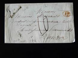 BELLE LETTRE DE ROUEN POUR PARIS  -  1856  - - Marcophilie (Lettres)