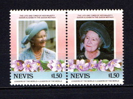 NEVIS    1985    Life  And  Times  Of  Q E  The  Queen Mother  $1.50  Pair    MNH - St.Kitts And Nevis ( 1983-...)