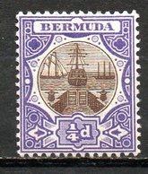 AMERIQUE DU NORD - BERMUDES - (Colonie Britannique) - 1906-10 - N° 29 - 1/4 P. Violet Et Brun - (Cale Sèche) - Bermuda