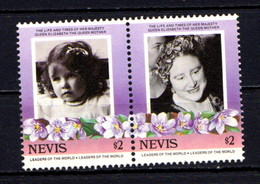NEVIS    1985    Life  And  Times  Of  Q E  The  Queen Mother  $2  Pair    MNH - St.Kitts And Nevis ( 1983-...)
