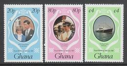 SERIE NEUVE DU GHANA - MARIAGE ROYAL DU PRINCE CHARLES ET DE LADY DIANA SPENCER N° Y&T 708 A 710 - Familles Royales