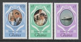 SERIE NEUVE DU GHANA - MARIAGE ROYAL DU PRINCE CHARLES ET DE LADY DIANA SPENCER N° Y&T 711 A 713 - Familles Royales