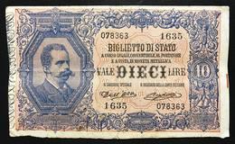 10 LIRE VITTORIO EM. III° Giu Dell'ara Righetti 1914 Rara Macchiolina Al R. LOTTO 2065 - [ 1] …-1946 : Regno