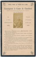 Image Pieuse Mortuaire, 1883 - Monseigneur Le COMTE De CHAMBORD - Scan Recto Verso - Devotion Images