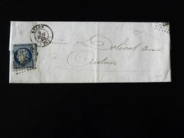LETTRE DE DIJON POUR AUTUN -  1852  - - Marcophilie (Lettres)