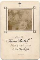 Image Pieuse Mortuaire Manuscrite - Soldat Henri RATEL Mort Pour La Patrie, 1916 - WW1, Scan Recto Verso - Devotion Images