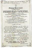 Doodsprentje E.H. VANLIERE Pierre-Jean - GELUVELT - MOUSCRON - TORHOUT - KOOLKERKE - CLAIRMARAIS En +ST. OMER (F) 1875 - Images Religieuses