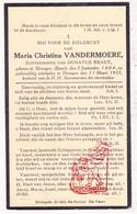 DP Maria Chr. Vandermoere ° Baarle Drongen 1884 † Drongen Gent 1935 X D. Braet - Images Religieuses