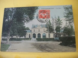 L11 4941 CPA COLORISEE 1909 - 77 FONTAINEBLEAU. LA GARE. EDIT. FOURCADE N° 82 - TRAMWAY. AUTRE VUE DIFFERENTE. - Gares - Sans Trains