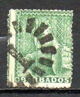 AMERIQUE CENTRALE - BARBADE - (Colonie Britannique) - 1861 - N° 8 - 1/2 P. Vert - (Britannia) - Antilles