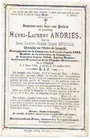 Doodsprentje ANDRIES Henri  (veuf DEVEUGLE C.) - BURGEMEESTER KUURNE - Membre Conseil Provincial Fl. Occidentale +1871 - Images Religieuses