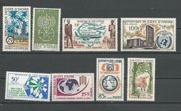 COTE IVOIRE Voir Détail  (8) ** Cote 14,90 $ 1962-3 - Côte D'Ivoire (1960-...)