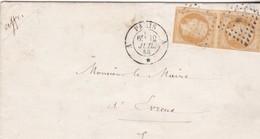 JOLIE LETTRE 1858 AVEC PAIRE NAPOLEON  10 C / CACHET AMBULANT PARIS A CHERBOURG ET TAMPON ASSISTANCE PUBLIQUE - Marcophilie (Lettres)