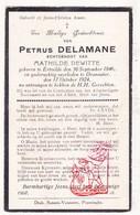 DP Petrus Delamane ° Ertvelde 1846 † Dranouter 1924 X Math. Dewitte - Images Religieuses