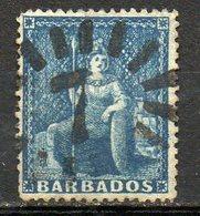 AMERIQUE CENTRALE - BARBADE - (Colonie Britannique) - 1871-73 - N° 20 - 1 P. Bleu - (Britannia) - Antilles