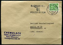 "Germany,Berlin 1952 Bedarfsbrief/Cover M.Mi.49.u.Polizei- MWST.""Berlin SW11-Bei Gefahr Rufe An 01 Polizei Berlin""1 Beleg - Polizei - Gendarmerie"