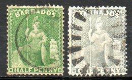 AMERIQUE CENTRALE - BARBADE - (Colonie Britannique) - 1875 - N° 32 Et 33 - (Britannia) - Antilles