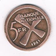 5 FRANC  1961 KATANGA  CONGO /8595/ - Katanga