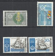 URUGUAY 1968 - 150th ANNIVERSARY OF NATIONAL NAVY - LOT OF 4 DIFFERENT  - OBLITERE USED GESTEMPELT USADO - Uruguay