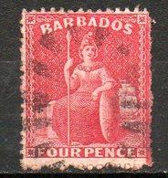 AMERIQUE CENTRALE - BARBADE - (Colonie Britannique) - 1875 - N° 35 - 4 P. Rouge - (Britannia) - Antilles