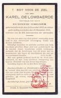 DP Karel De Lombaerde ° Kortrijk 1855 † 1935 X Eudoxie Orgaer - Images Religieuses