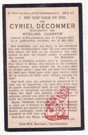 DP Cyriel DeCommer ° Passendale Zonnebeke 1875 † 1925 X Eveline Carreyn - Images Religieuses