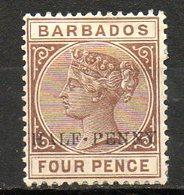AMERIQUE CENTRALE - BARBADE - (Colonie Britannique) - 1892 - N° 48 - 1/2 P. S. 4 P. Brun - (Britannia) - Antilles