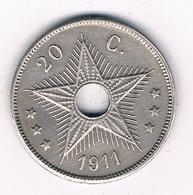 20 CENTIMES 1911  BELGISCH CONGO /8599/ - Congo (Belge) & Ruanda-Urundi