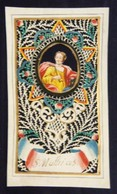 Rare Et Véritable Petit Canivet D'époque XVIIIème, Saint Mathias - Vélin Ajouré Et Gouaché - Images Religieuses