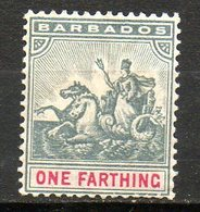 AMERIQUE CENTRALE - BARBADE - (Colonie Britannique) - 1892-1903 - N° 49 - 1 F. Gis Et Rose - (Sceau De La Colonie) - Antilles