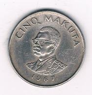 5 MAKUTA   1967 CONGO /8601/ - Congo (République 1960)