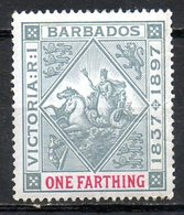 AMERIQUE CENTRALE - BARBADE - (Colonie Britannique) - 1897 - N° 60 - 1 F. Gis Et Rose - (Sceau De La Colonie) - Antilles