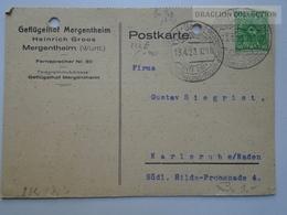 ZA143.16  Postcard - Germany  Geflügelhof Mergetheim -Heinrich Groos - Nach Karlsruhe 1923 - Allemagne