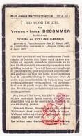 DP Oorlogsvluchtelinge WOI 14-18 Yvonne Decommer / Carrein 24j. ° Passendale Zonnebeke BE † Alençon FR Normandie 1931 - Images Religieuses