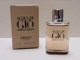 NEW 2018!!!! MINIATURE Eau De Parfum ACQUA DI GIO Absolu G ARMANI 5 Ml - Modern Miniatures (from 1961)