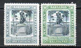 AMERIQUE CENTRALE - BARBADE - (Colonie Britannique) - 1905 - N° 76 Et 77 - (Centenaire De La Mort De Nelson) - Antilles