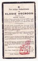 DP Elodie DeCroos ° WestVleteren 1878 † Woesten Vleteren 1929 X Désiré Polley - Images Religieuses