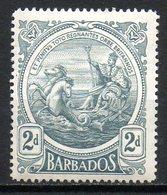 AMERIQUE CENTRALE - BARBADE - (Colonie Britannique) - 1916-18 - N° 106 - 2 P. Gris - (Nouveau Sceau De La Colonie) - Antilles