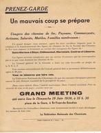 Meeting Contre La Fermeture Des Chemins De Fer ST-MARIENS à BLAYE, Etc.... - Historical Documents