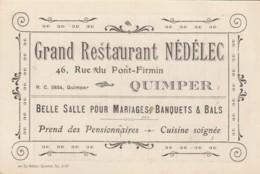 CARTE PUBLICITAIRE - NOTE - RESTAURANT NEDELEC QUIMPER FINISTERE 1925 - Cartes De Visite