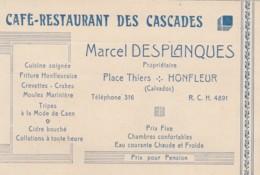 CARTE PUBLICITAIRE - NOTE - CAFE RESTAIURANT  DES CASCADES - DESPLANQUES HONFLEUR CALVADOS  1939 - Cartoncini Da Visita
