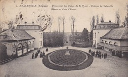 BELGIQUE.CALLENELLE. CPA. RARETE. PENSIONNAT DES DAMES DE ST MAUR. AVENUE ET COUR D'ENTRÉE ANIMEE. ANNEE 1923 + TEXTE - Belgique