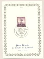 Deutsches Reich - 1942 - 400th Todestag Peter Henlein With Special Cancel Nurnberg On Leaflet - Allemagne