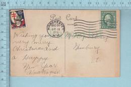 CP Avec Vignette 1920, Croix De Loraine Avec Enfant Et Pere Noel, Sur Carte Postale De Noel - Vignettes De Fantaisie