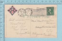 CP Avec Vignette 1921, Croix De Loraine Avec Enfant Et Pere Noel, Sur Carte Postale De Noel - Vignettes De Fantaisie