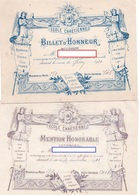 2 BULLETINS SCOLAIRES  ECOLE CHRETIENNE *Mention Honorable *Billet D'Honneur JUIN & DECEMBRE 1922 - Diplomi E Pagelle