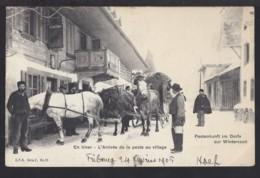 Postankunft Im Dorfe - Postkutsche Mit Kufen Im Winter - 1905 - Rar - BE Bern
