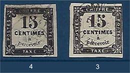 """FR Taxe YT 3 & 4 """" 15c. Noir Non Dentelé  Typographié Et Lithographié """" 1863-70 Oblitéré - Taxes"""